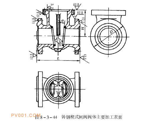 铸钢楔式闸阀阀体首要加下表面