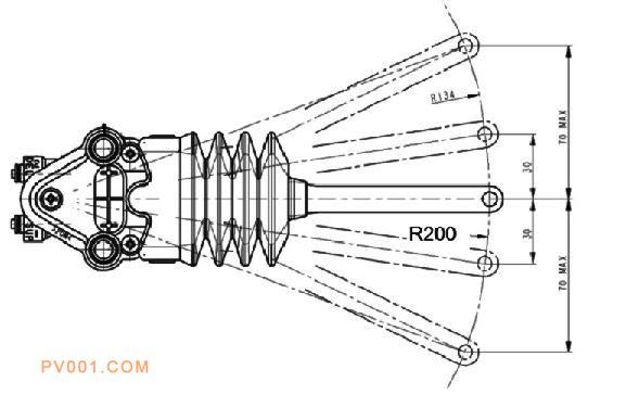 国内常用高度阀横摆杆长度 (200mm)