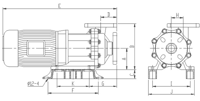 耐酸碱磁力泵外观尺寸图
