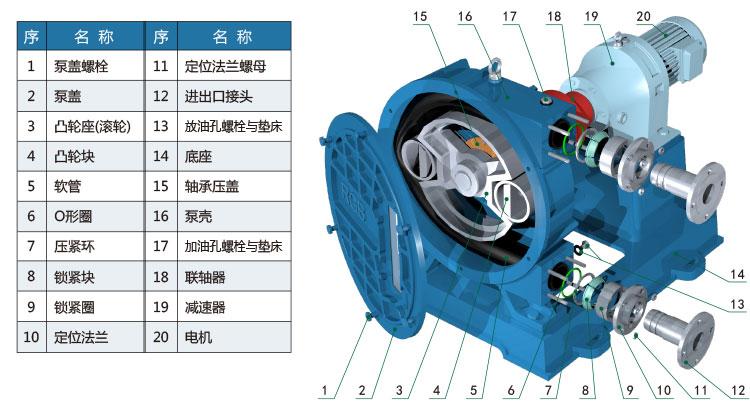 RGB系列蠕动软管泵单管结构简图