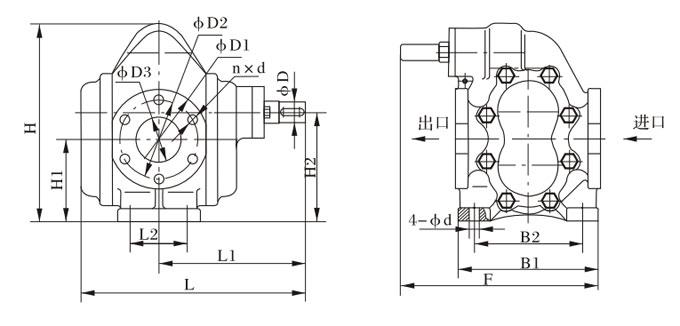 KCB200-960型齿轮泵外型、安装尺寸