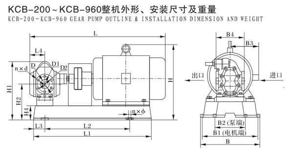 KCB-200--KCB-960整机外形,安装尺寸及重量